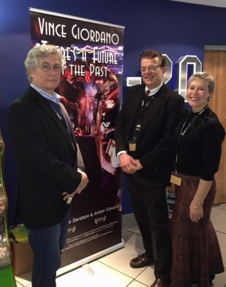 Dave Davidson, Vince Giordano, and Amber Edwards at the Printworks Odeon in Manchester, England.