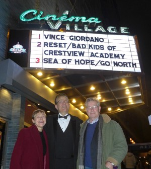 Amber Edwards, Vince Giordano, and Dave Davidson at the NYC premiere.