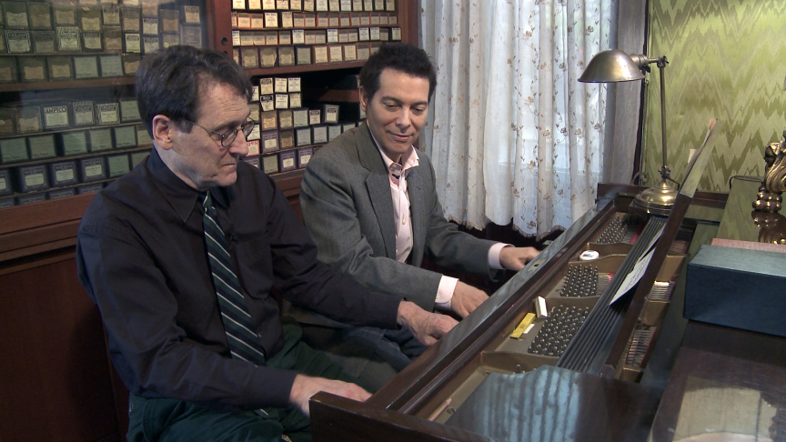 Michael plays a Gershwin duet with society pianist and collector Peter Mintun.